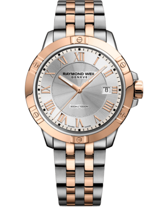 Rose gold and silver two tone men's watch, bracelet style with date window, rose gold hands and Roman numeral dial