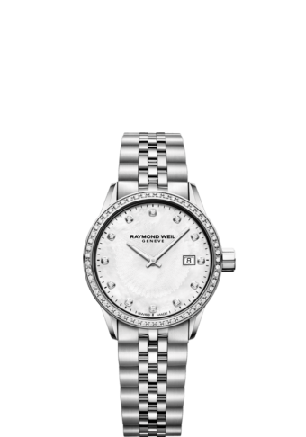 RAYMOND WEIL lady freelancer quartz date watch full diamond bezel