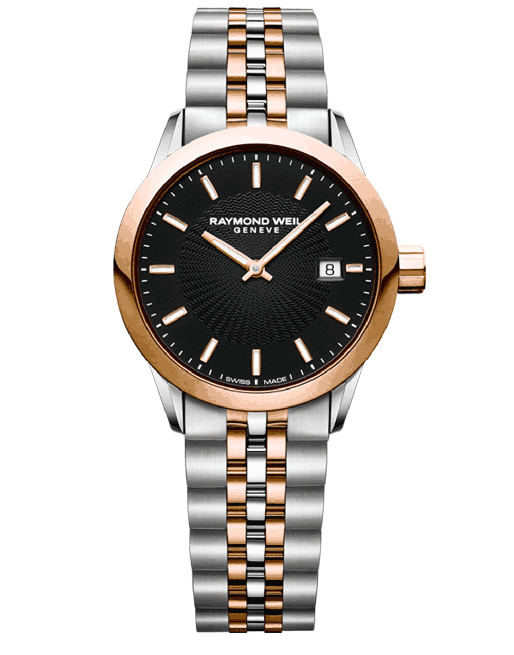Raymond Weil Geneve Two-tone Rose Gold Black Dial Ladies Luxury Watch