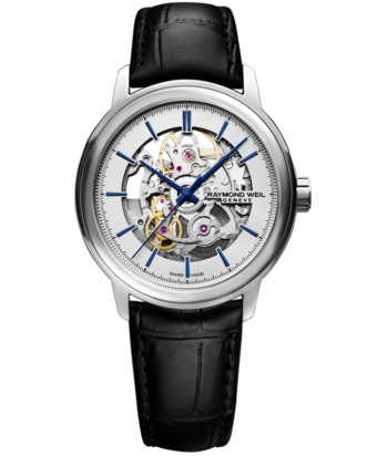 RAYMOND WEIL Maestro Skeleton automatic black leather watch