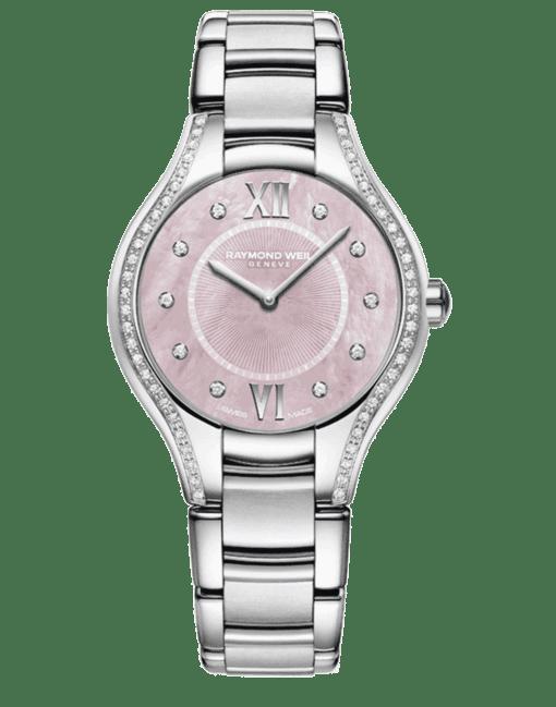 RAYMOND WEIL Geneve Stainless Steel Diamond Pink Dial Ladies Luxury Watch