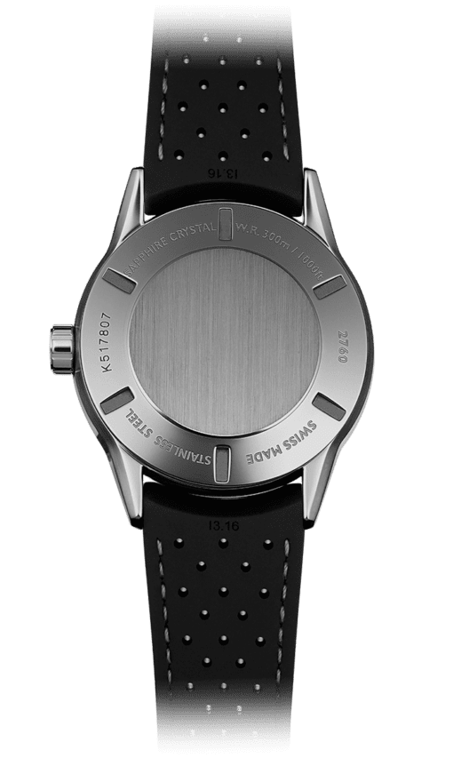 Back view of the Freelancer Black Automatic Watch with stainless steel backing and a black rubber strap
