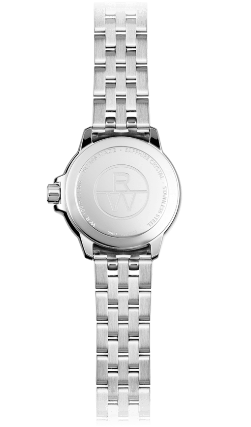 Raymond Weil Tango watch as seen from the back. RW logo centered, stainless steel band, entirely silver-colored.