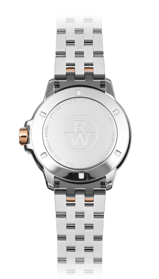 Back view of Tango men's watch, silver-bracelet with rose gold knob and Raymond Weil logo. Swiss Made and Stainless Steel