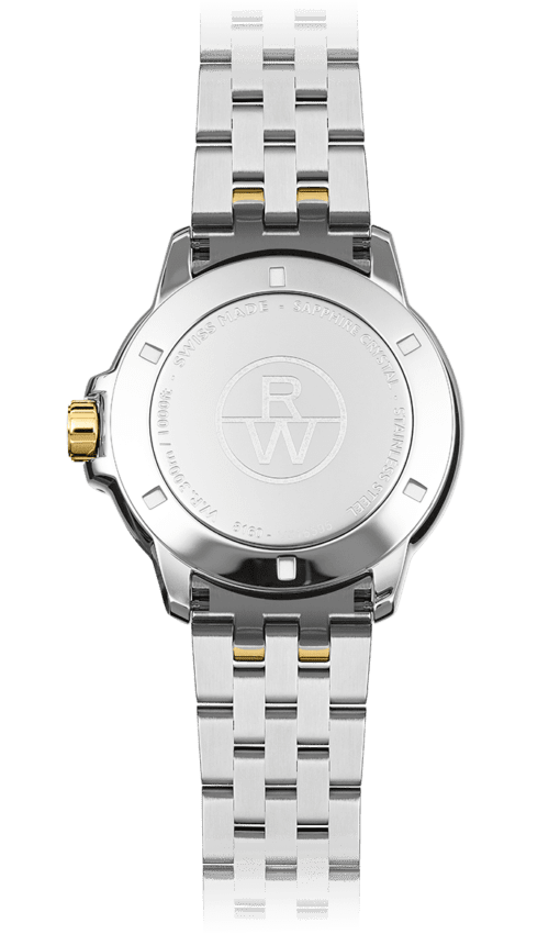 Back view of silver stainless steel bracelet watch face and band with gold knob and Raymond Weil logo. Swiss Made watch.