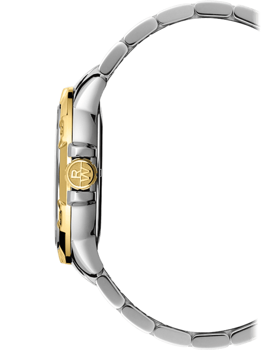 Side view of stainless steel men's watch with gold knob, gold bezel, sapphire crystal face. Gold knob has Raymond Weil logo