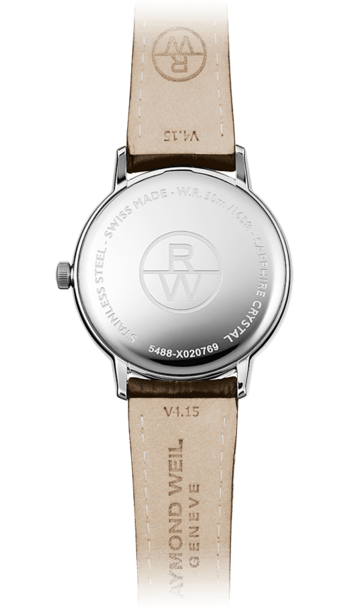 Back view of Raymond Weil Toccata for men. Tan underside of brown leather strap, RW logo. Watch with Sapphire Crystal.