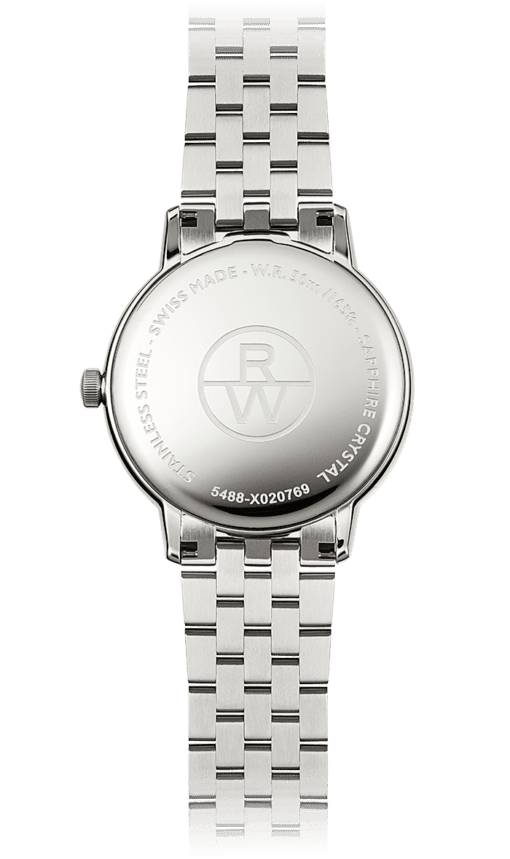Back view of Raymond Weil 5488 Toccata. Classic watch for men with stainless steel band. Water resistant to 50m.