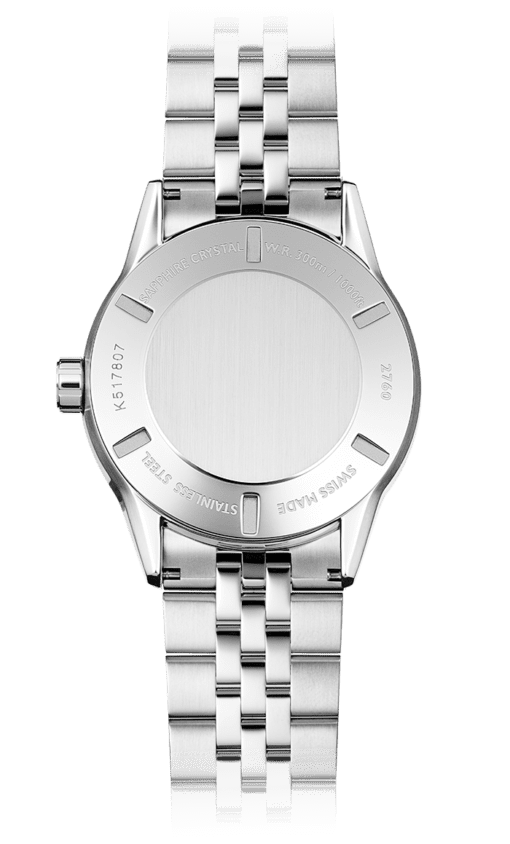 Back of the Freelancer Blue Automatic Watch with stainless steel backing and bracelet