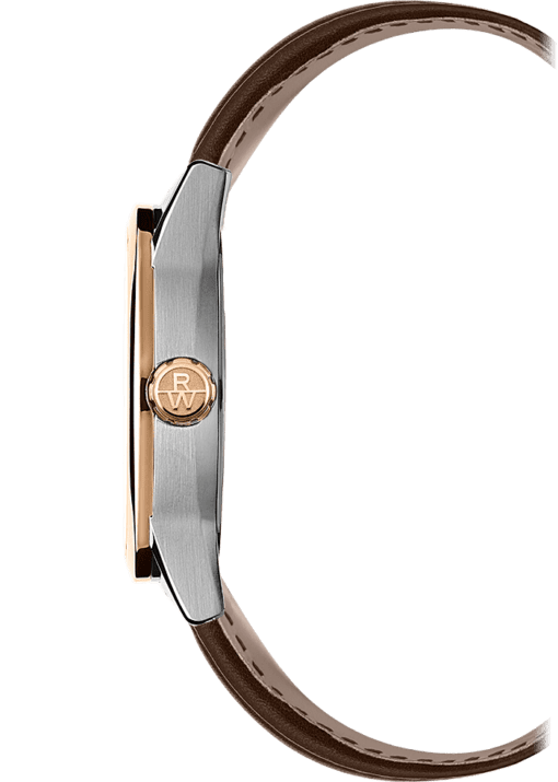 Side view of 42mm watch from Raymond Weil with rose gold crown, brown leather strap. RW insignia on crown.