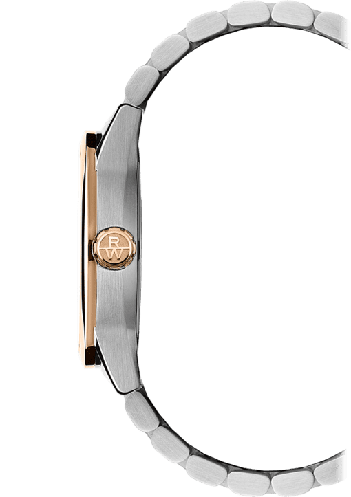 Side view of men's Freelancer watch, featuring rose gold crown and stainless steel band. Great gift for men.
