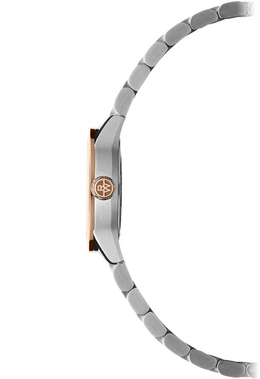 Raymond Weil Freelancer watch for her. Sideview. RW logo on rose gold crown, watch for women. Stainless steel band.