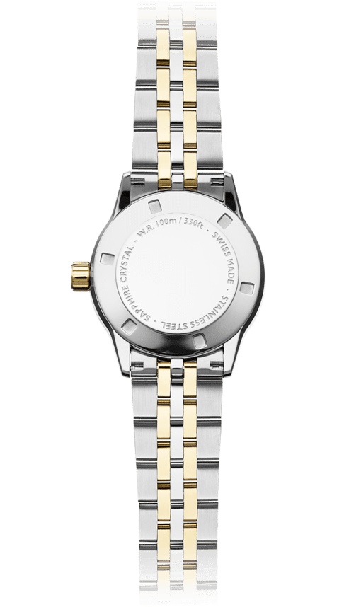Back of the 12 Diamond Two-Tone Gold Steel Quartz Watch with stainless steel bracelet and gold crown