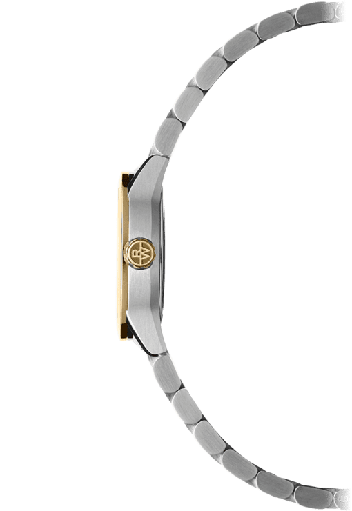 Side view of the 12 Diamond Two-Tone Gold Steel Quartz Watch with stainless steel bracelet and gold crown with Raymond Weil logo