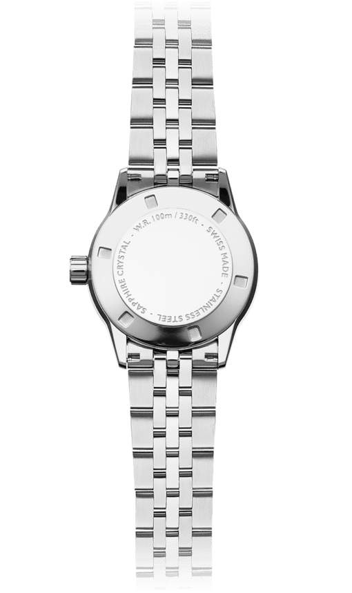 Back view of the Ladies 67 Diamond Quartz Watch with stainless steel bracelet and back