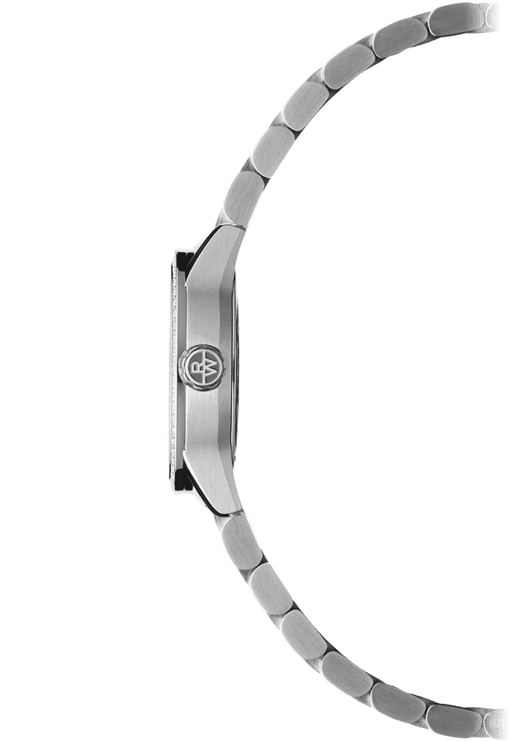 Side view of the Ladies 67 Diamond Quartz Watch with stainless steel lug and crown with Raymond Weil logo