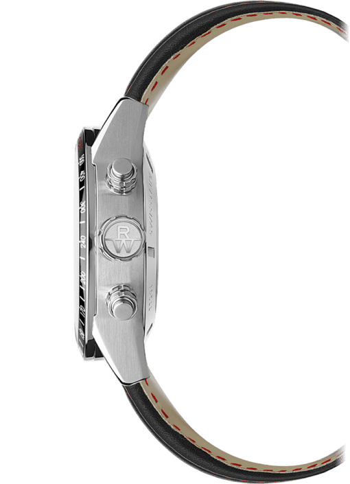 Side of the Freelancer Men's Automatic Black Watch with black leather strap and stainless steel crown with Raymond Weil logo