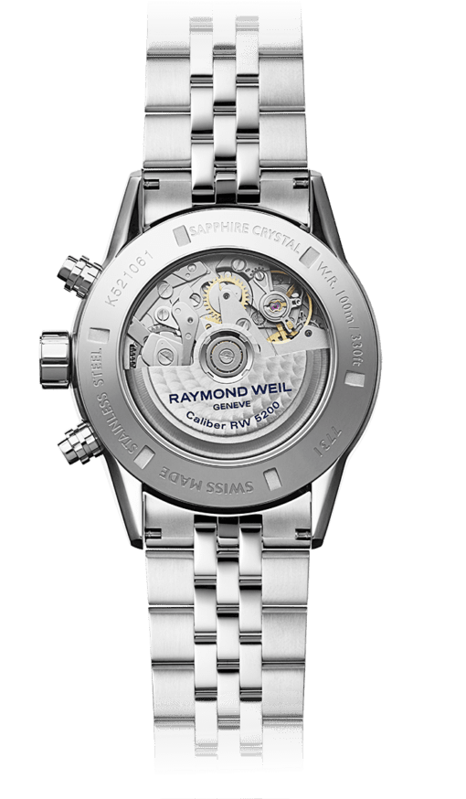 Back view of Raymond Weil Freelancer. Sapphire Crystal, WR 100m. Elegant watch with stainless steel band.