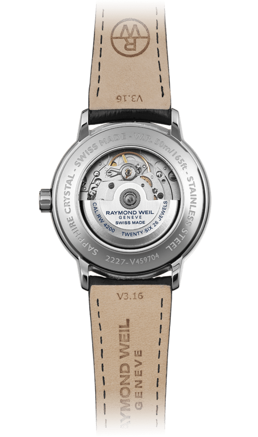 Back of Maestro Visible Balance Wheel Automatic Watch with steel lug and mechanical backing