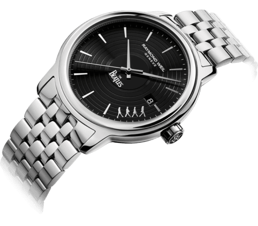 Side view of the Maestro Abbey Road Automatic Watch with stainless steel bracelet and crown featuring Raymond Weil logo