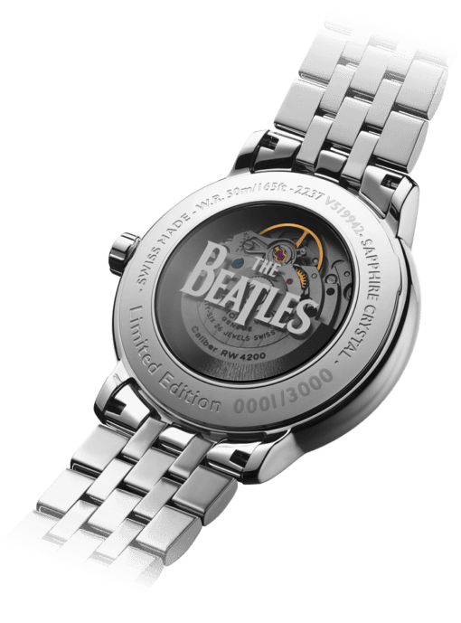 Back view of the Maestro Abbey Road Automatic Watch with mechanical backing featuring The Beatles logo