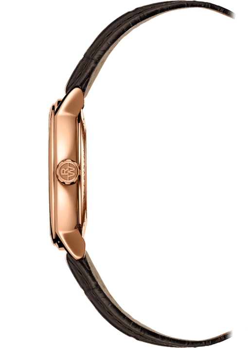 Side view of Rose Gold Brown Leather Watch with gold lug and crown with Raymond Weil logo