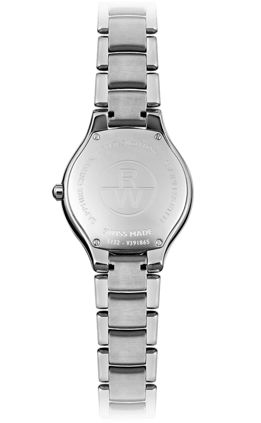 Back view of Noemia Ladies Diamond Quartz Watch with stainless steel bracelet and backing with Raymond Weil logo