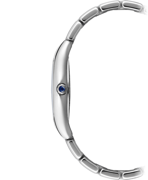 Side view of Noemia Ladies Diamond Quartz Watch with stainless steel lug and blue crown
