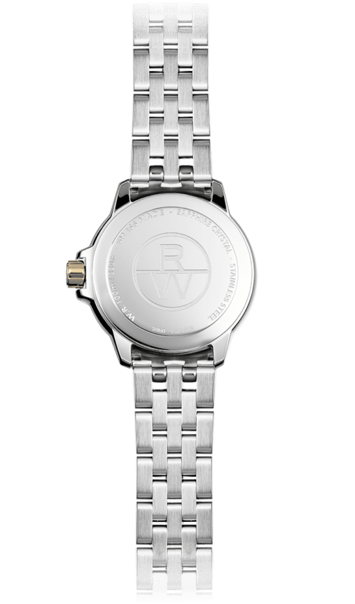 View from the back of Raymond Weil's Tango watch for women. Two-tone watch with stainless steel band. RW logo on back.