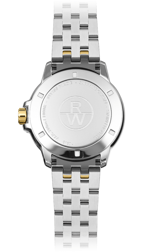 Back view of Tango men's watch, silver stainless steel bracelet with gold knob and Raymond Weil logo. Swiss Made