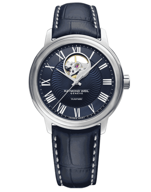 RAYMOND WEIL maestro Blues automatic open-aperture blue leather watch