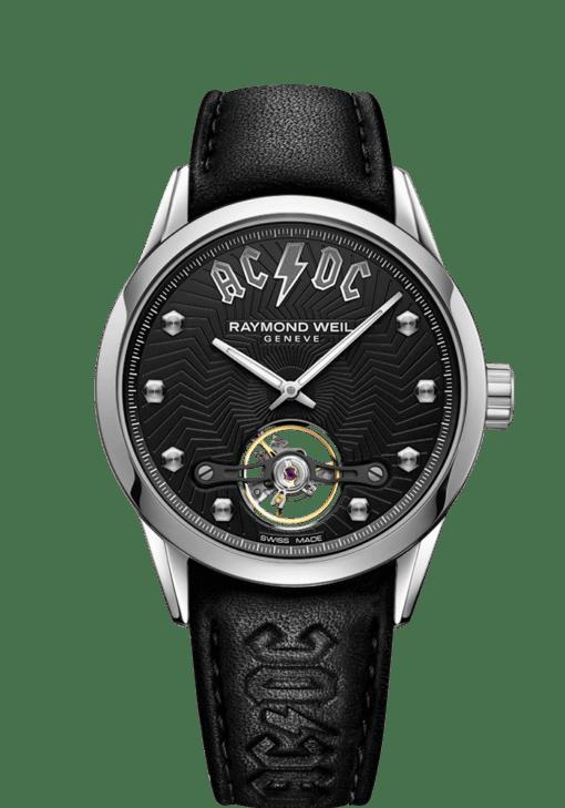 RAYMOND WEIL freelancer AC/DC Limited Edition Black Leather Watch