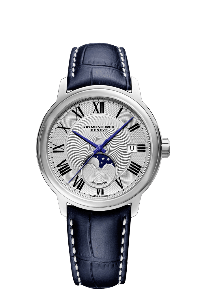 RAYMOND WEIL Maestro moon phase automatic blue leather watch for men 2239-stc-00659