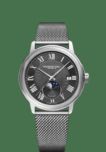 RAYMOND WEIL Maestro moon phase automatic mesh steel watch 2239m-st-00609