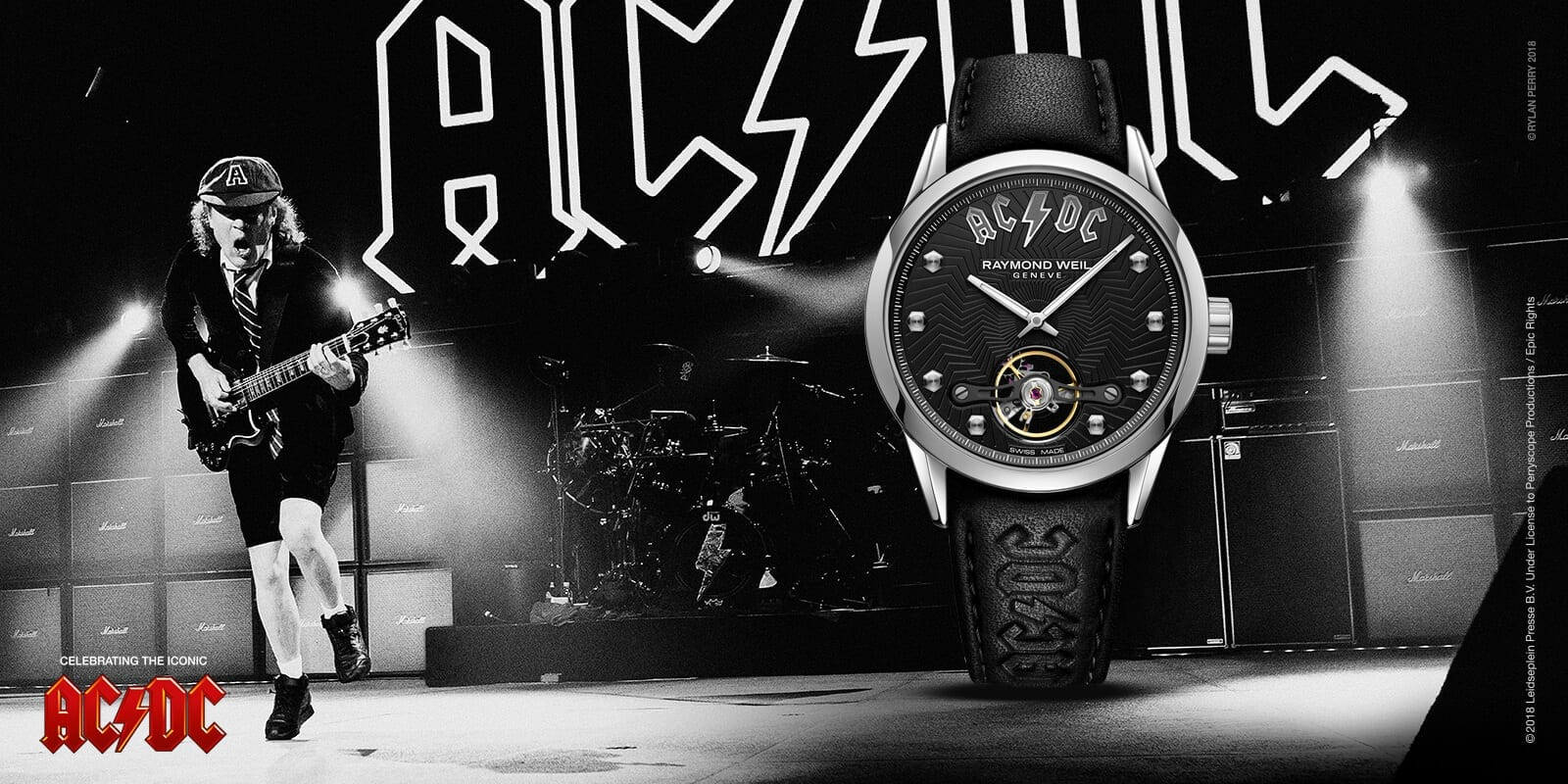 RAYMOND WEIL | ACDC Limited Edition Raymond Weil Freelancer Luxury Watch - Pack Shot Image