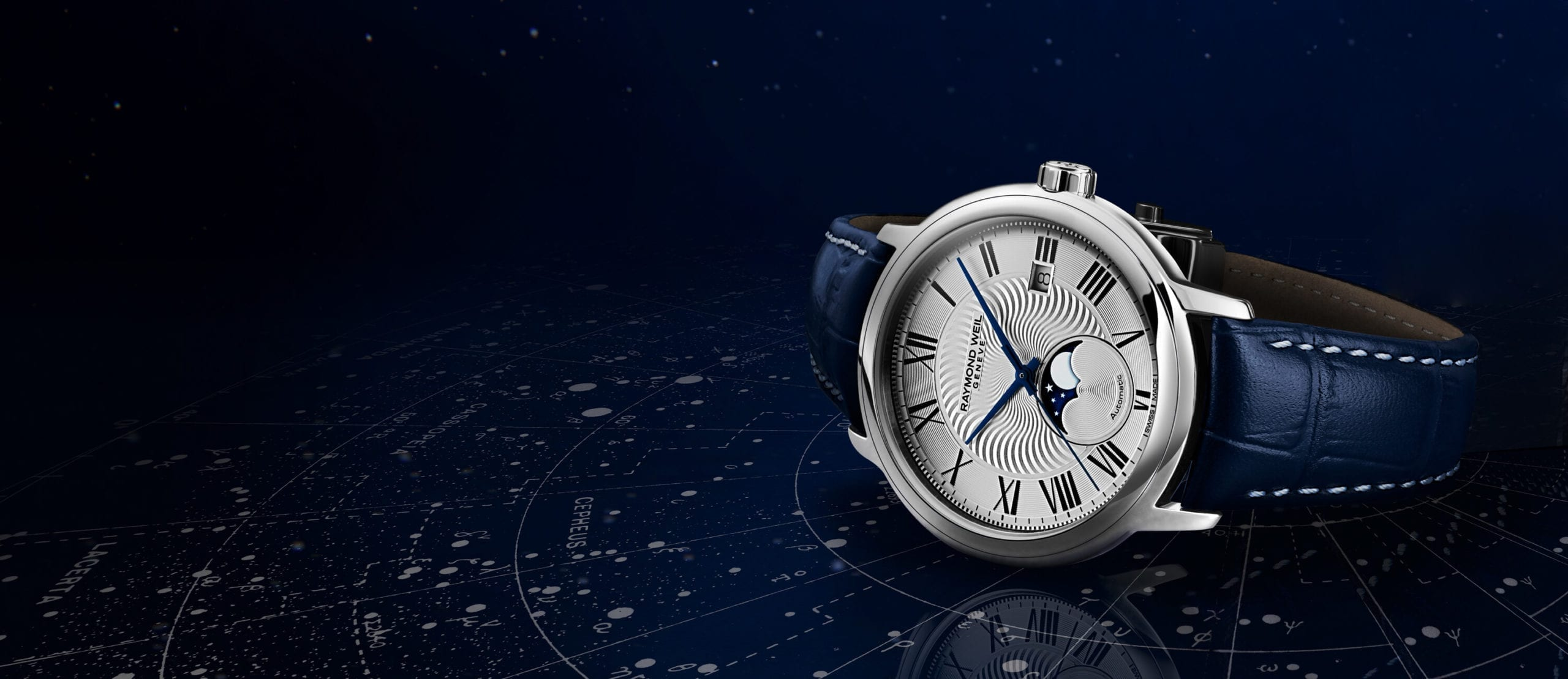 RAYMOND WEIL Maestro Moon Phase Automatic Blue leather watch