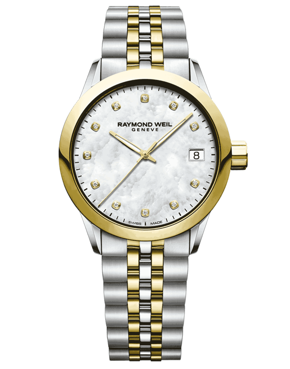 RAYMOND WEIL freelancer 5634-stp-97081 gold diamond watch