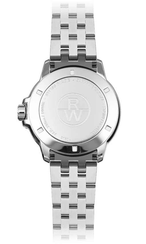 View from back of Raymond Weil Tango Classic stainless steel watch, RW logo, WR300m, Swiss-made. Sleek band and watch design.