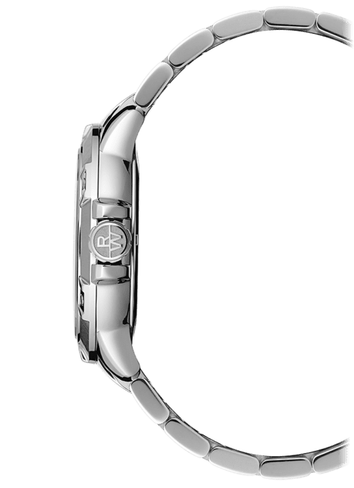Side view Raymond Weil Tango Classic watch with stainless steel band. Luxury quartz watch with RW insignia on crown.