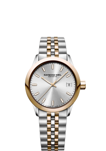 RAYMOND WEIL freelancer ladies 5634-sp5-65021 two-tone rose gold watch