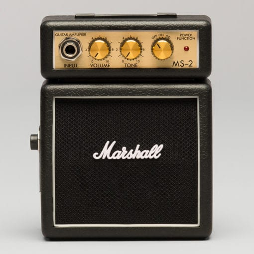 Marshall guitar amplifier with volume and tone knob, single input. Musician's amp, MS-2 with authentic grille cloth