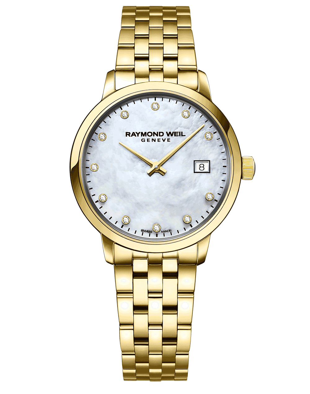 RAYMOND WEIL mother of pearl diamond indexes gold pvd bracelet ladies toccata