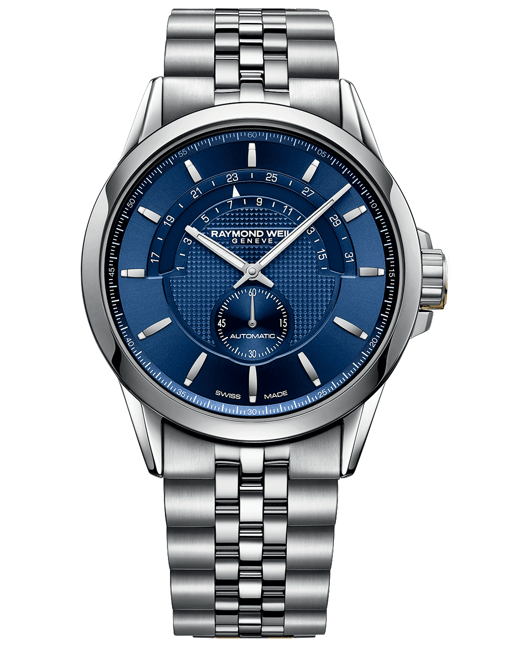 RAYMOND WEIL Freelancer Automatic Halfmoon Date function blue dial, and stainless steel bracelet strap watch
