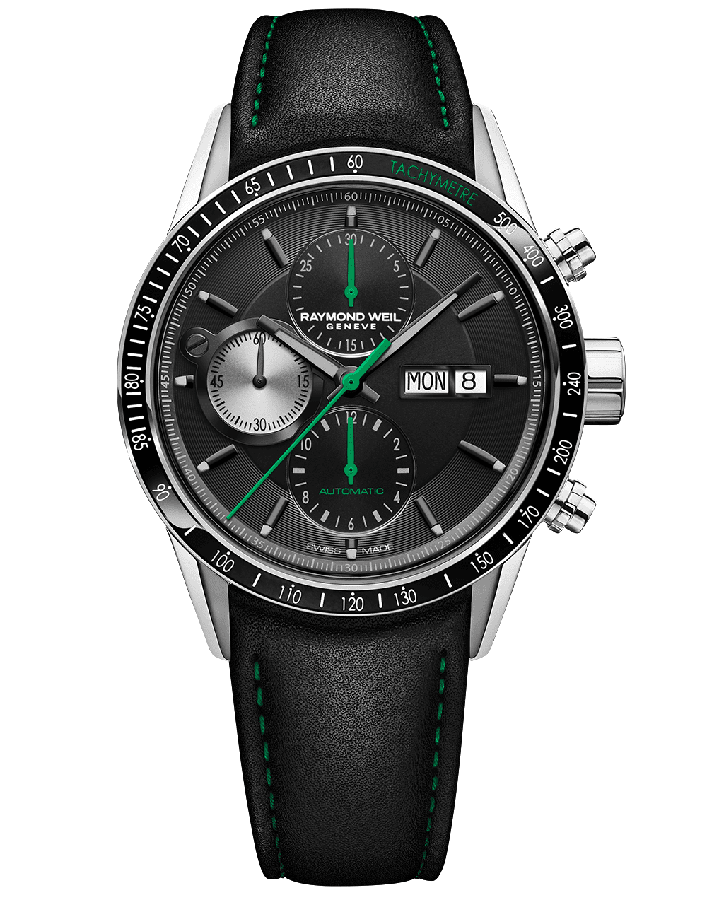 RAYMOND WEIL Freelancer Chronograph Green Hands Accents and Black Leather Strap Watch