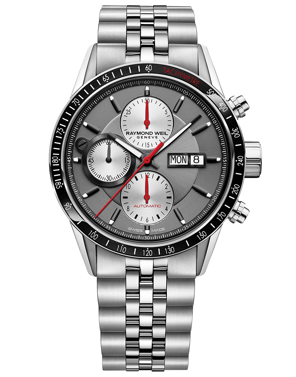 RAYMOND WEIL Freelancer Chronograph Stainless Steel Bracelet Luxury Swiss Watch