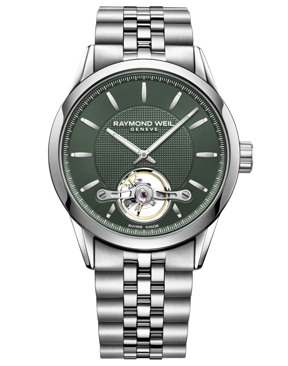 RAYMOND WEIL green dial stainless steel RW1212 freelancer