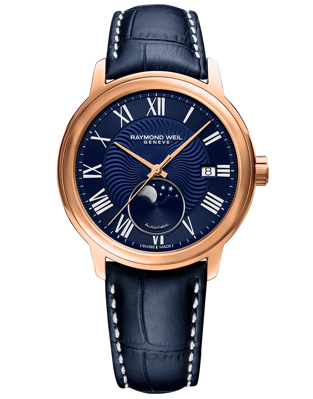 RAYMOND WEIL maestro moonphase blue dial rose tone leather watch